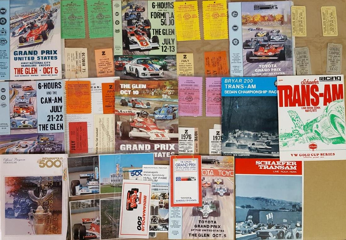 1970's race programs, tickets, passes, etc