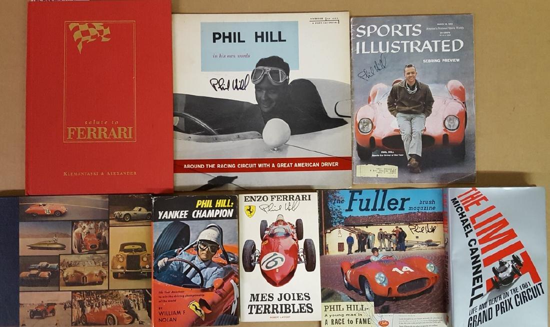 Seven Phil Hill autographed books