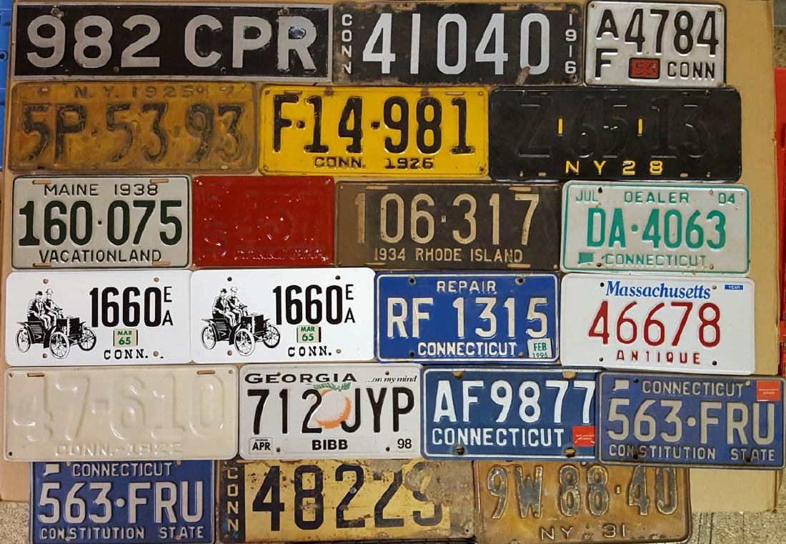 52 misc license plates, many Texas