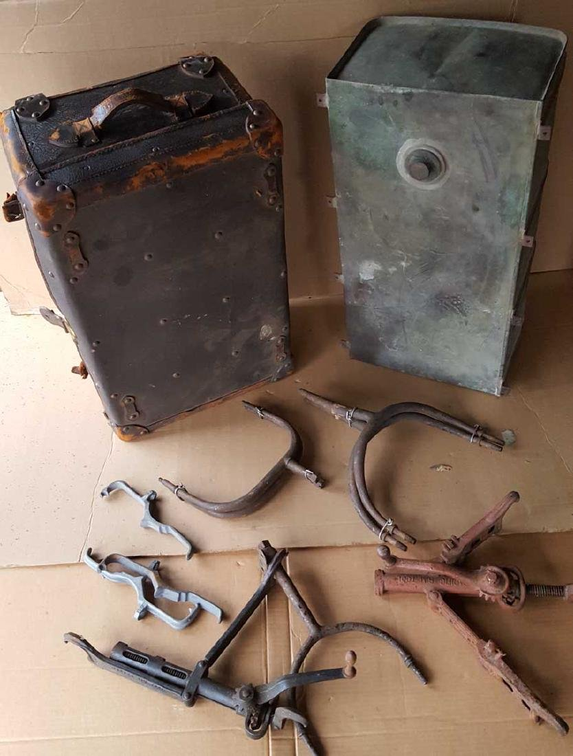 Brass era items - gas tank, trunk, etc