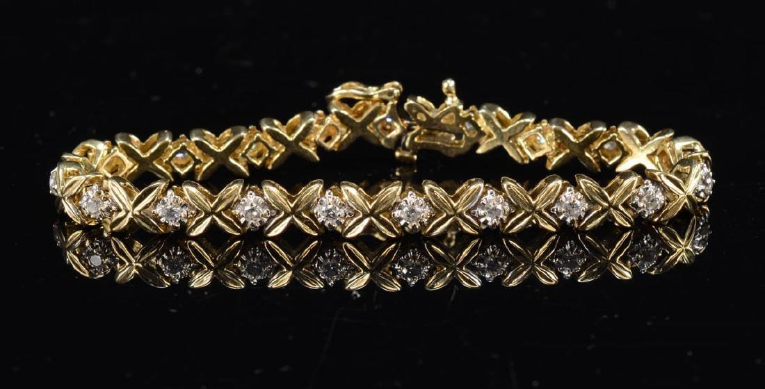 Ladies 14K Diamond Tennis Bracelet