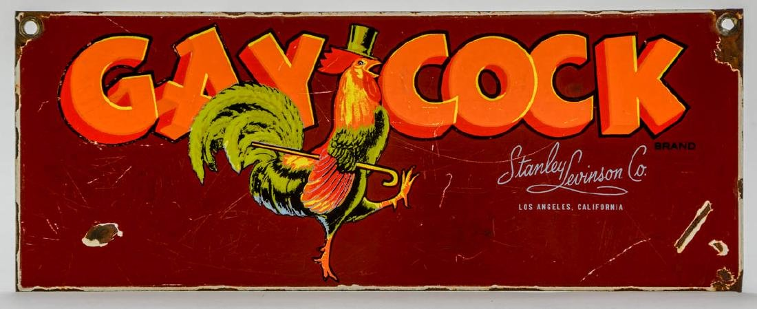 Gay Cock Brand Fruit Advertising Sign