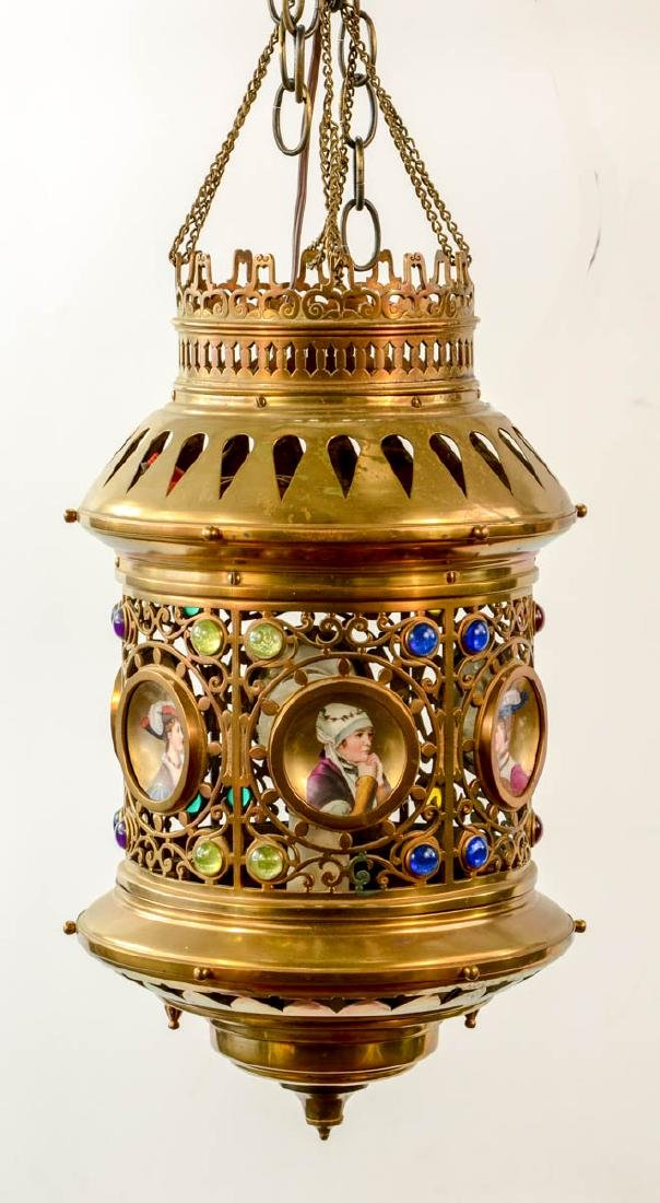 Victorian Jeweled Brass Hanging Lamp