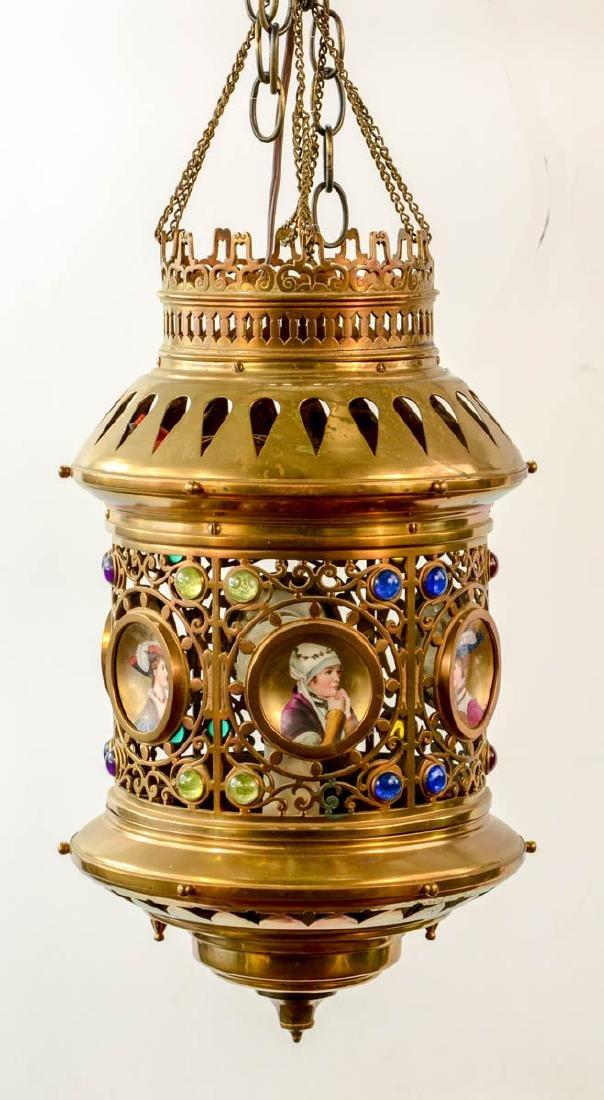Victorian Jeweled Brass Hanging Lamp