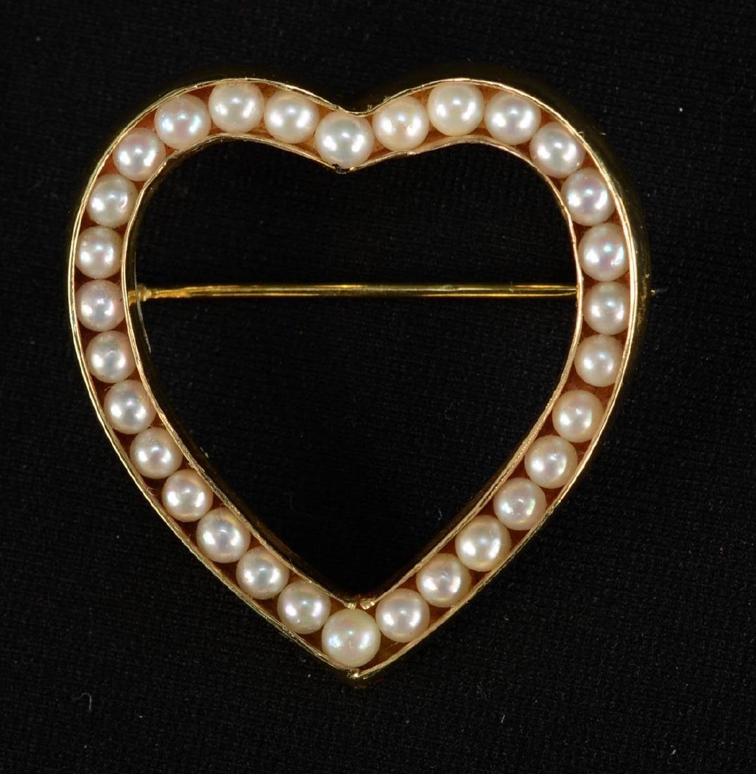 14K Seed Pearl Heart Pin