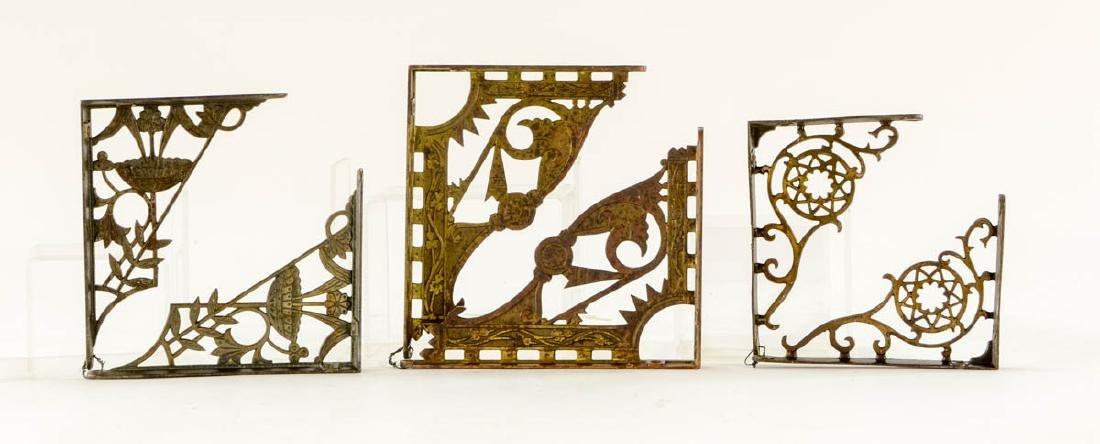 3 pr decorative brass shelf brackets