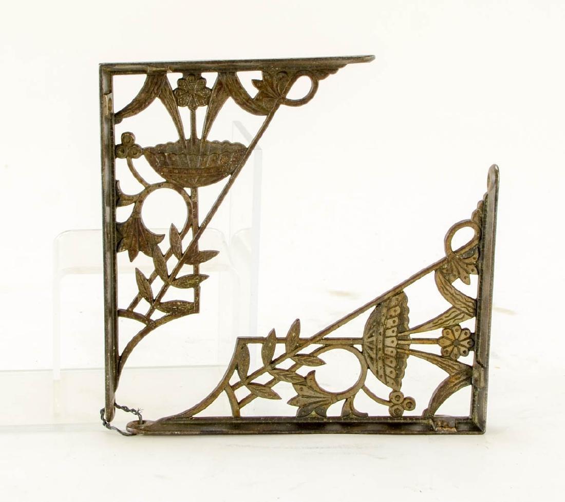 3 pr decorative brass shelf brackets - 2