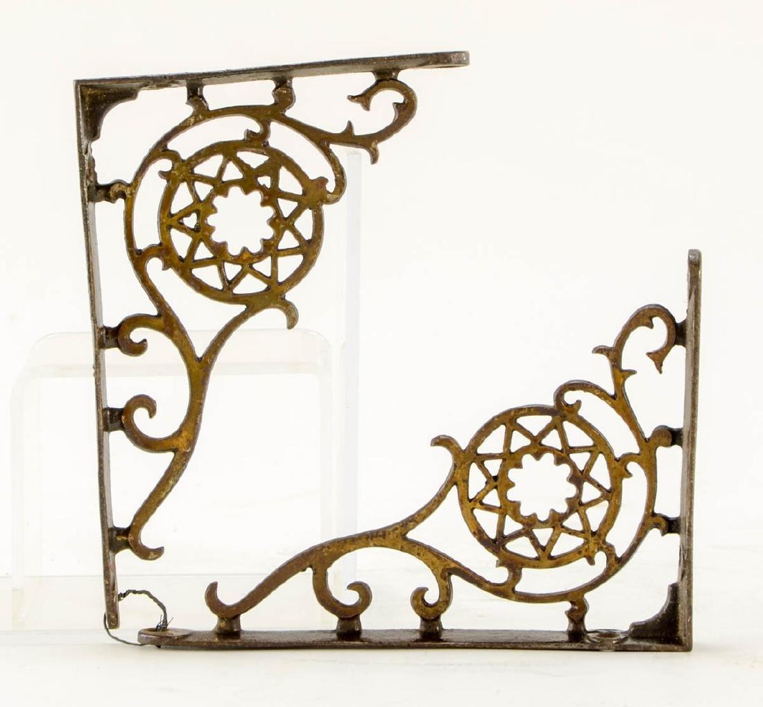3 pr decorative brass shelf brackets - 3