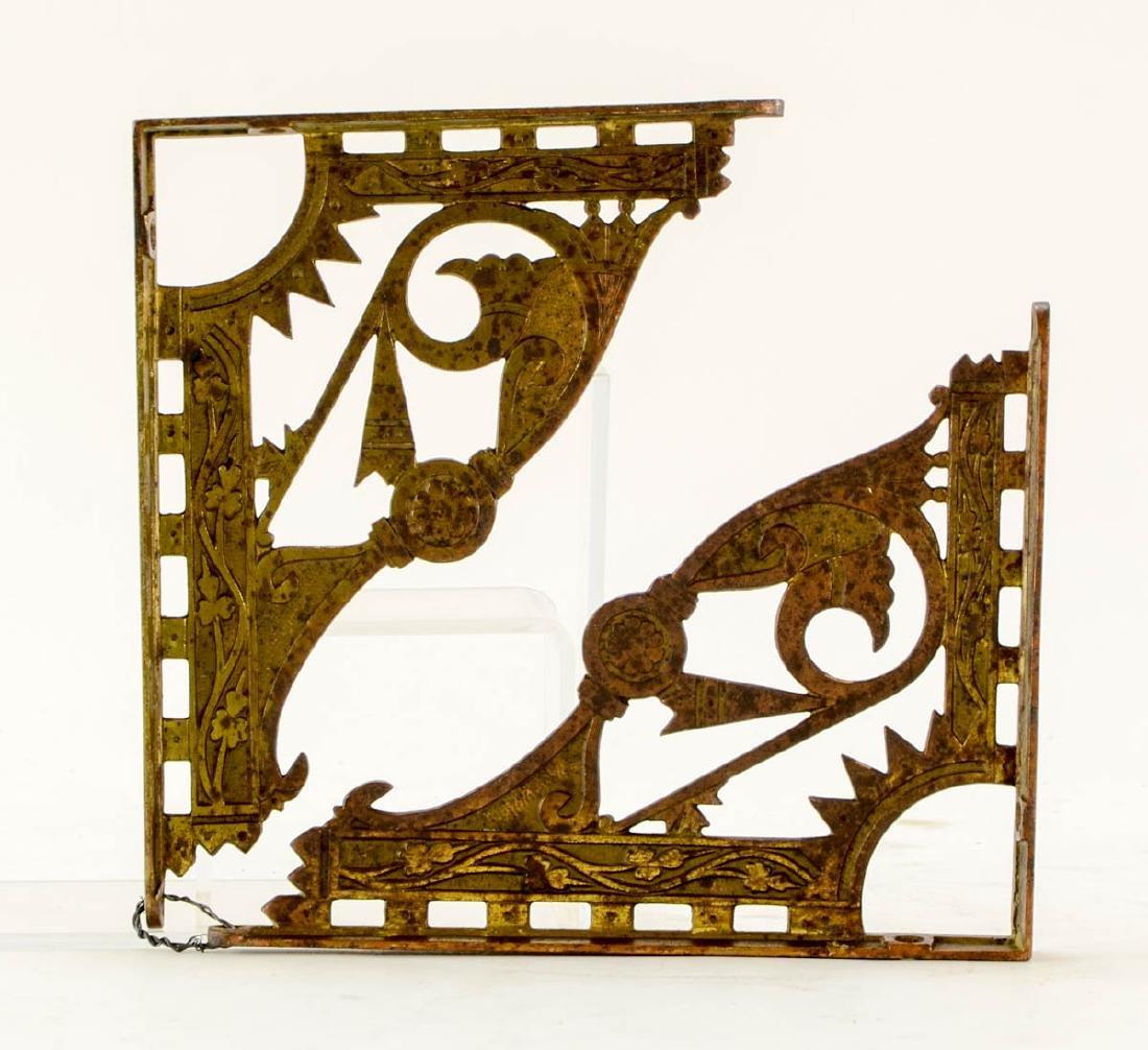 3 pr decorative brass shelf brackets - 4