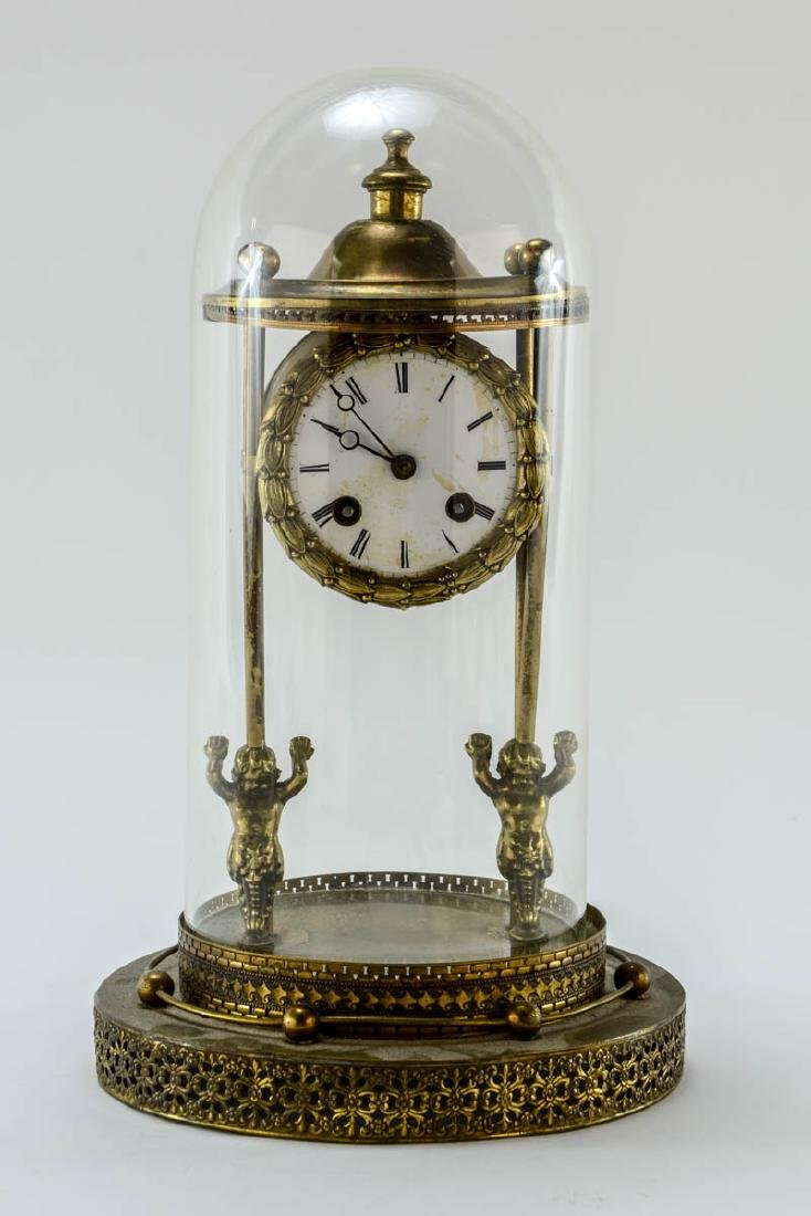 French Glass Dome Mantle Clock