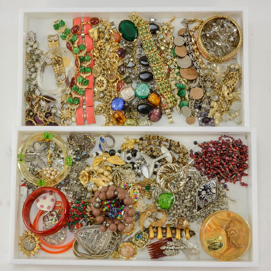 2 trays of fashion jewelry