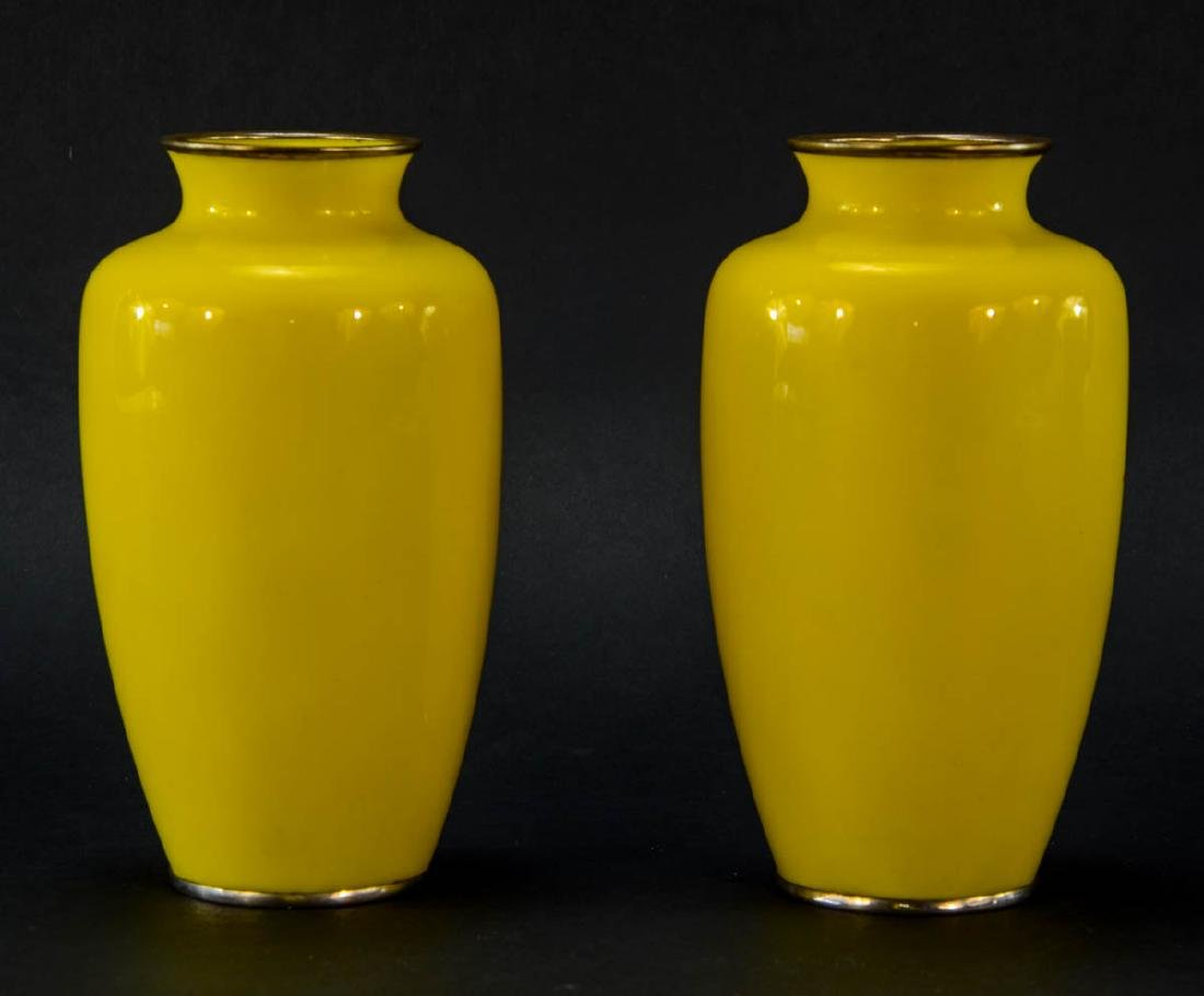 Pair of Japanese Cloisonne vases - 2
