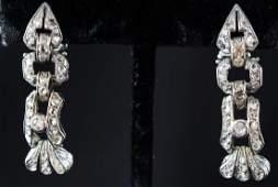Art Deco Platinum Diamond Earrings