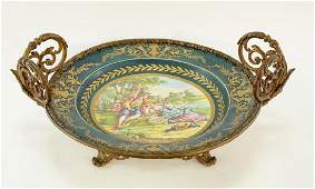 French Bronze Mounted Porcelain Charger