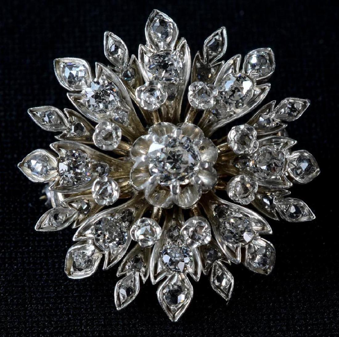 Antique 14K Diamond Flower Brooch