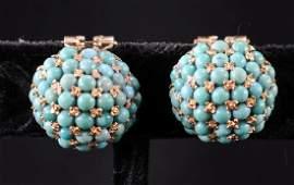 Ladies 18K Turquoise Earrings