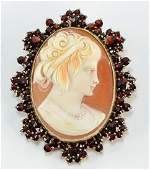 Antique Shell Cameo in Garnet Setting