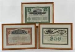 Three Railroad Stock Certificates