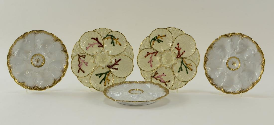 Group of five Oyster Plates