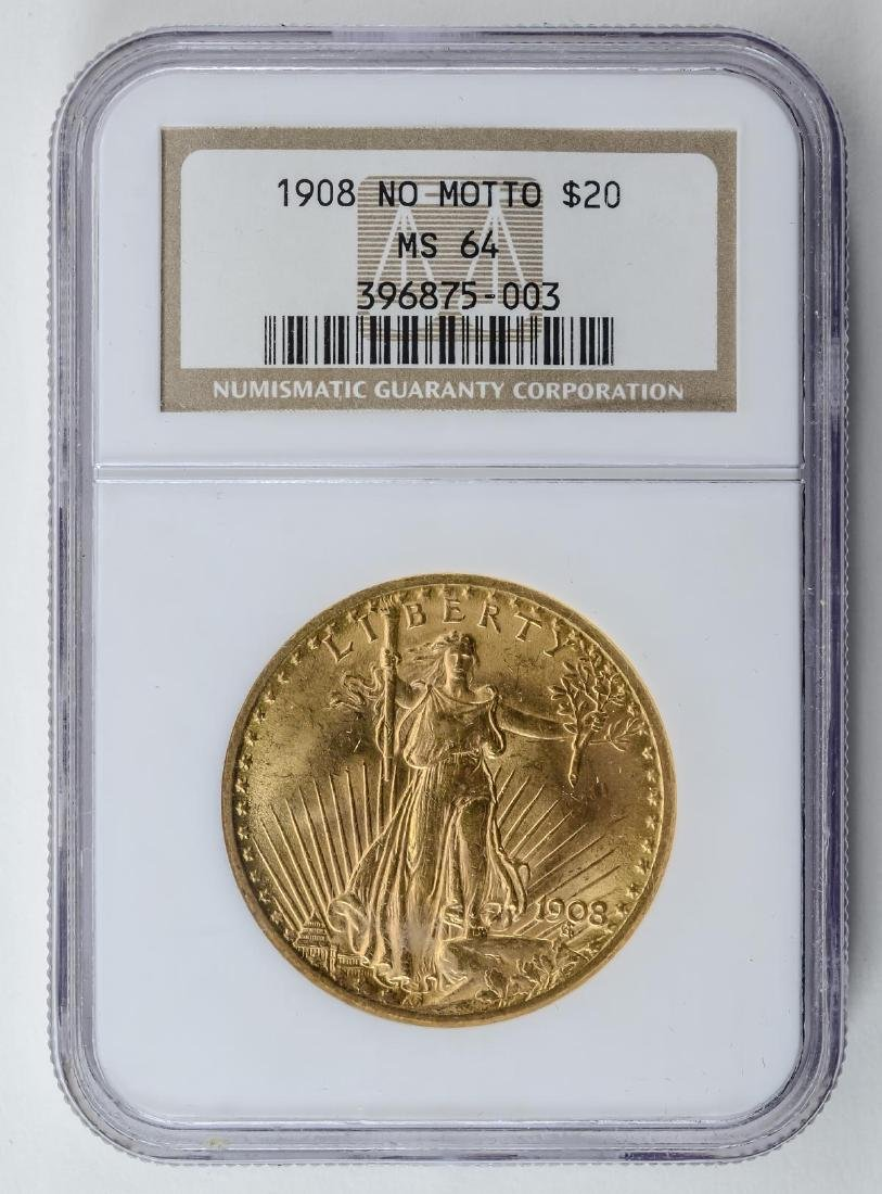 1908 No Motto $20 Gold Double Eagle