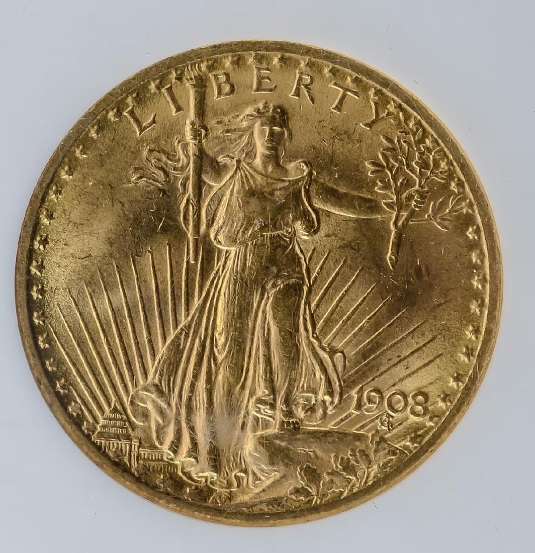 1908 No Motto $20 Gold Double Eagle - 2
