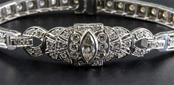 Ladies Art Deco Platinum Diamond Bracelet