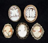 Estate Group of Gold Cameo Pins