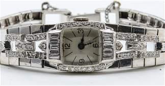 Ladies 14k Platinum Diamond Watch