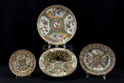 Four Pcs of Chinese Rose Medallion