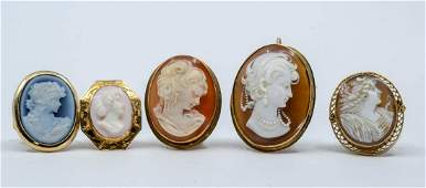 5 pcs Estate Cameo Jewelry Lot