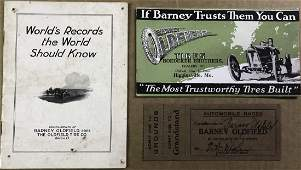 1915 Barney Oldfield autographed ticket - & two i