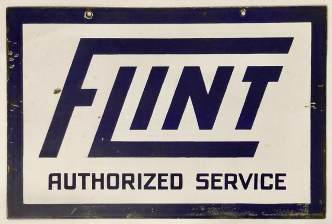 Flint Authorized Service porcelain sign