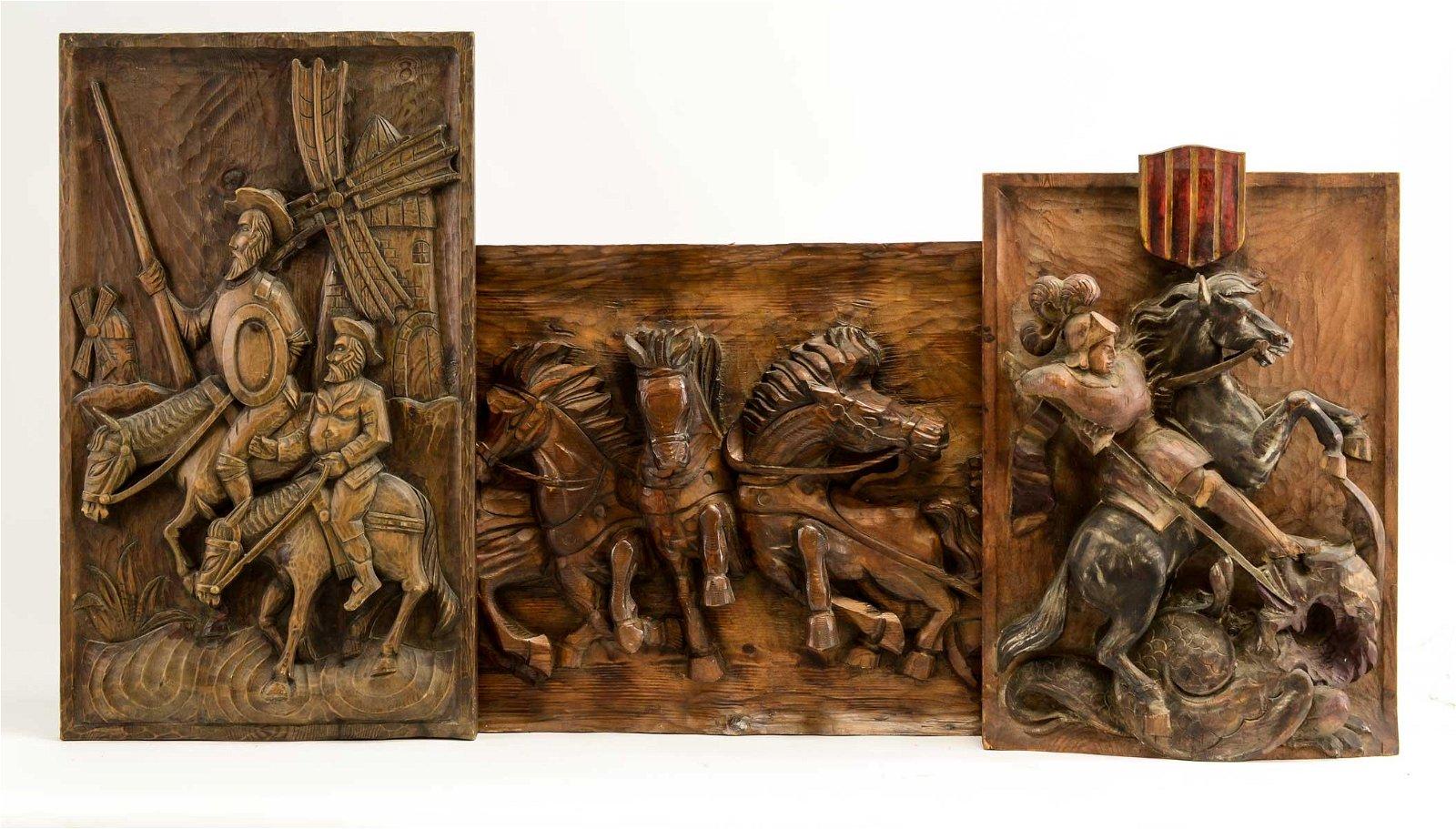 Three Spanish Carved Wood Panels