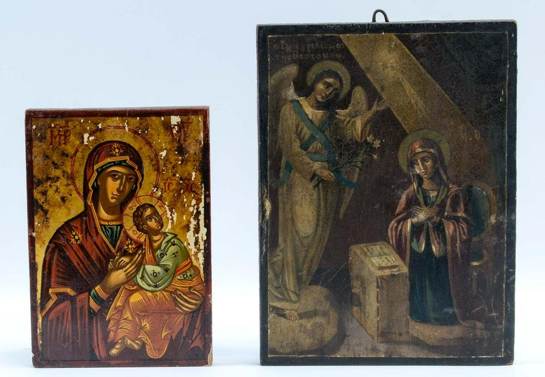 Two Hand Painted Religious Icons