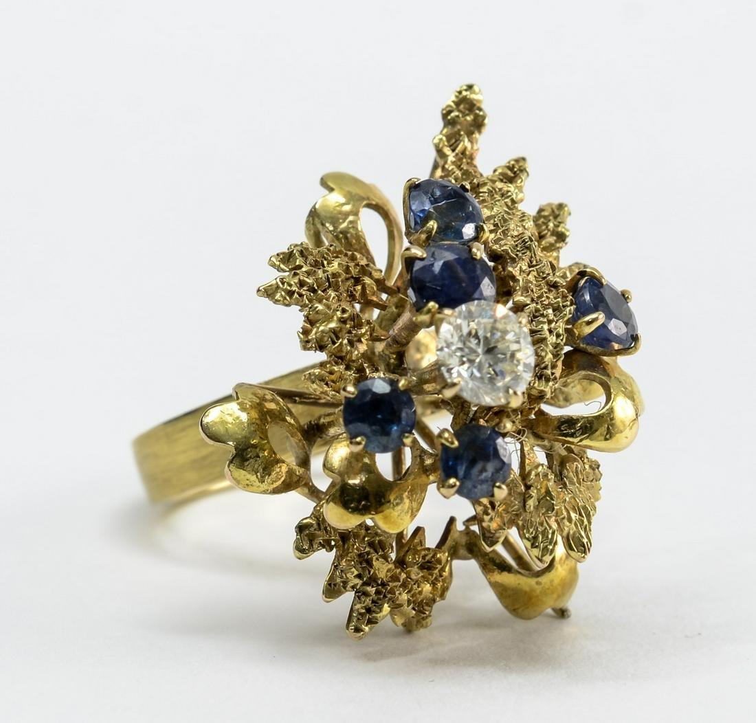 Ladies 14K Diamond & Blue Topaz Cocktail Ring