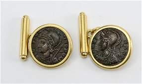 18k Gold Ancient Coin Cufflinks