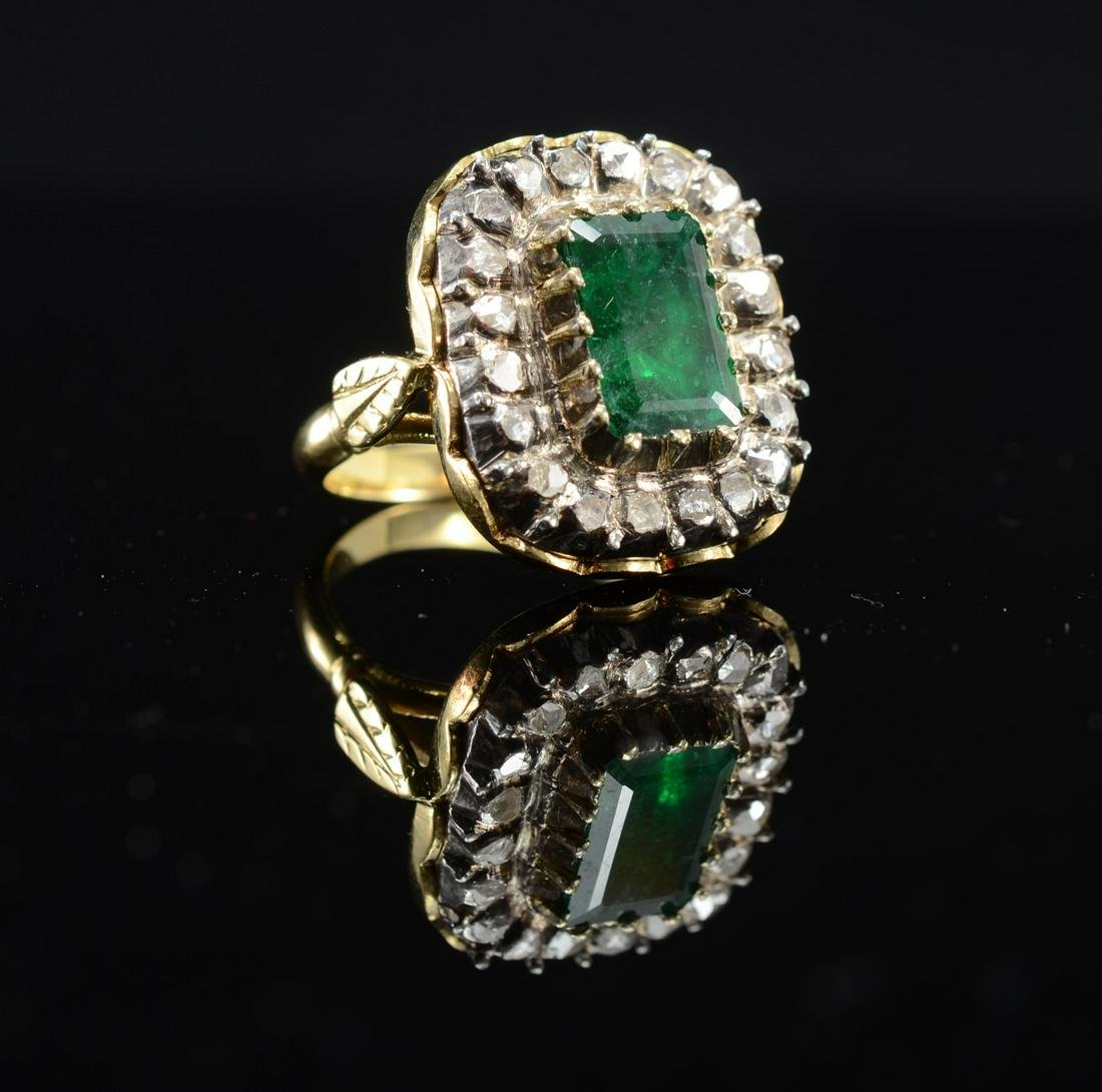 18K Natural Emerald & Diamond Ring
