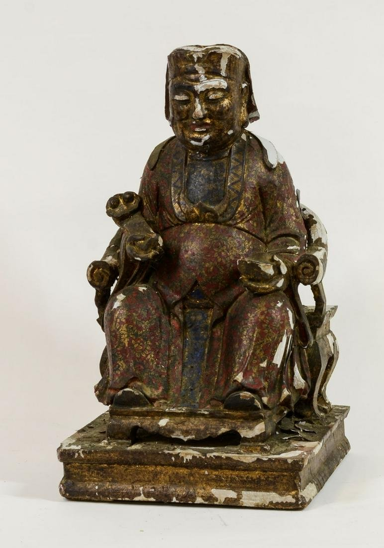 Chinese Gilt and Lacquer Decorated Figure