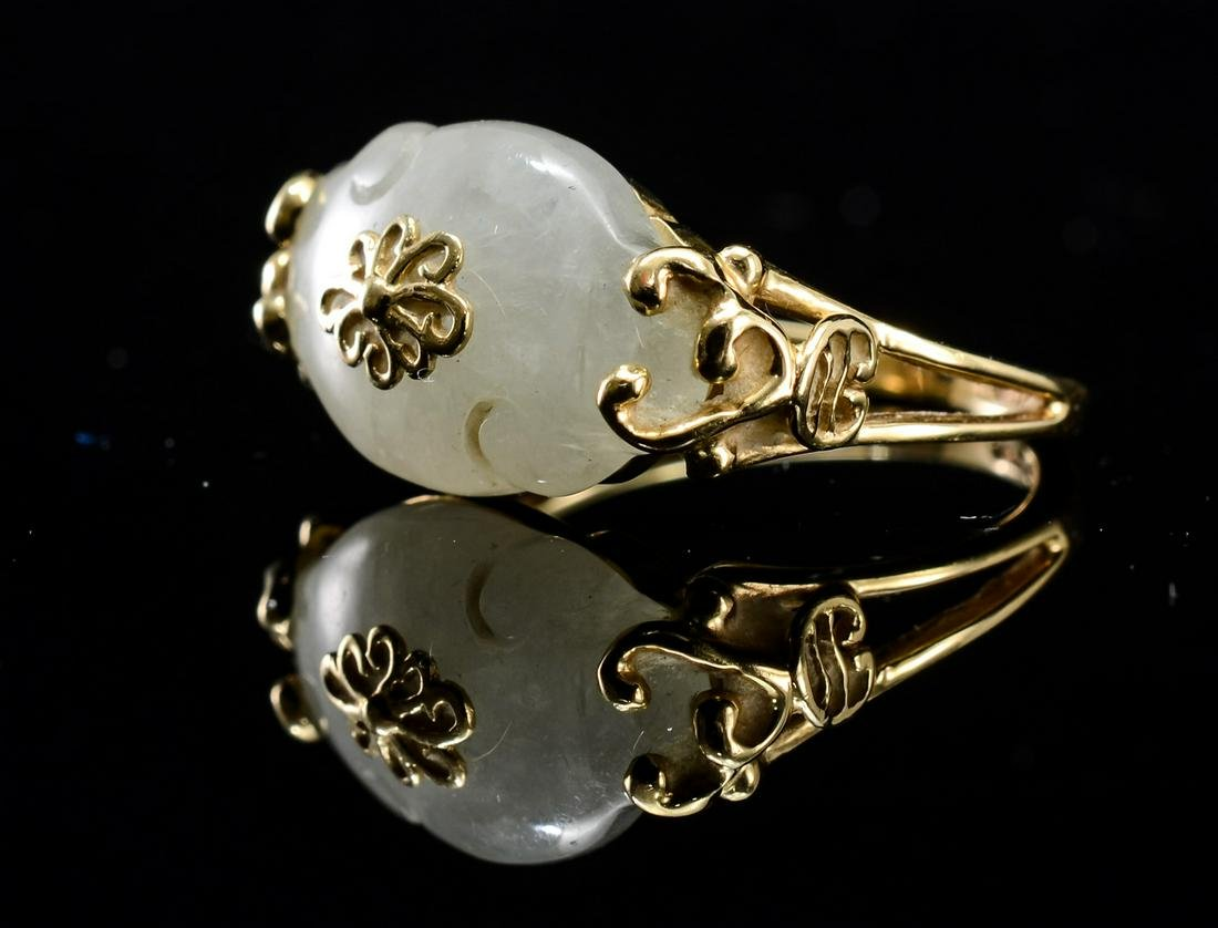 Ladies 14K Chinese Jade Ring