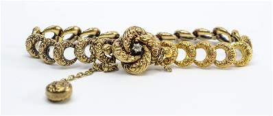 Ladies 14K Gold Victorian Diamond Bracelet