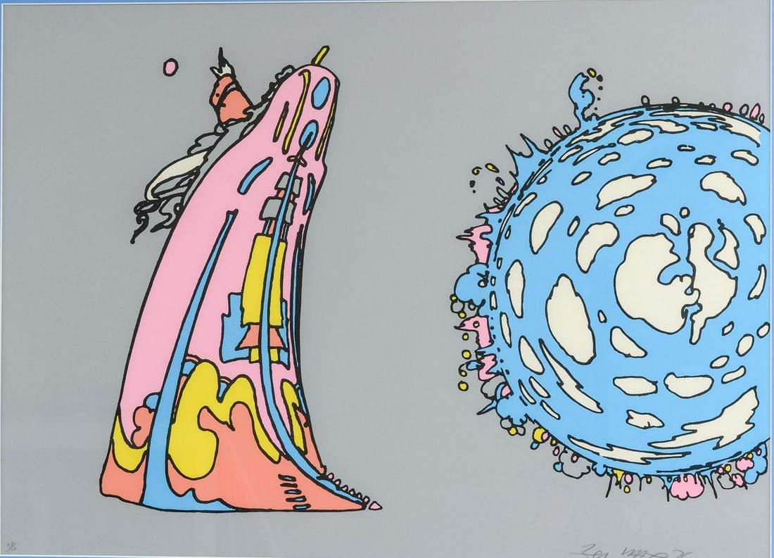 """Peter Max Serigraph """"Pointing to Infinity"""""""
