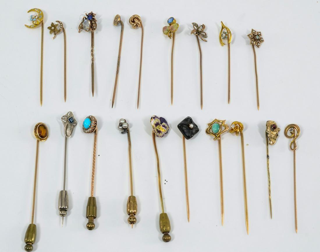 19 Antique Stick Pins 10K, 14k, 18K