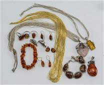 Sterling Silver and Amber Jewelry Group