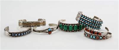 Seven Southwest Silver Bracelets