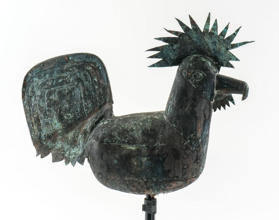 Full Body Folk Art Copper Rooster Weathervane