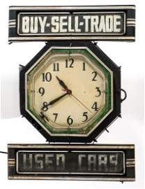 Neon Used Cars Advertising Clock Sign