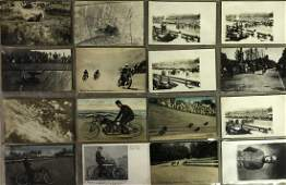28 racing related early motorcycle postcards