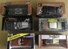 Six 118 scale model cars  five US and MG TC