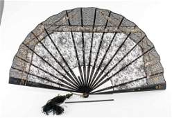 Antique Ladies Painted Hand Fan White Kittens