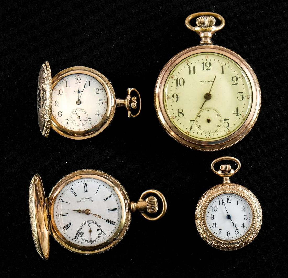 Four Estate Pocket Watches: Gold Filled